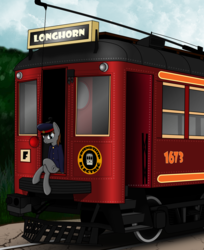 Size: 1610x1976 | Tagged: safe, artist:subway777, oc, oc only, earth pony, pony, clothes, conductor, crossed legs, sitting, train, tram, trolley