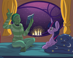 Size: 912x722   Tagged: safe, artist:kidkaizer, twilight sparkle, oc, oc:anon, alicorn, human, pony, /mlp/, bed, bedtime story, book, candle, clothes, golden oaks library, pajamas, twilight sparkle (alicorn)
