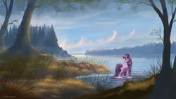 Size: 1920x1080 | Tagged: safe, artist:shamanguli, twilight sparkle, pony, unicorn, cloud, cloudy, female, forest, grass, lake, mare, scenery, scenery porn, sky, solo, tree, unicorn twilight, water