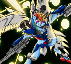 Size: 2000x1800 | Tagged: safe, artist:halotheme, rainbow dash, anthro, armor, breasts, cleavage, crossover, endless waltz, female, gun, gundam, gundam wing, weapon, wing zero, wing zero custom