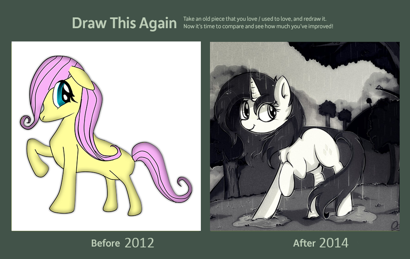 Size: 990x625 | Tagged: art evolution, artist:aureai, comparison, draw this again, fluttershy, rarity, safe