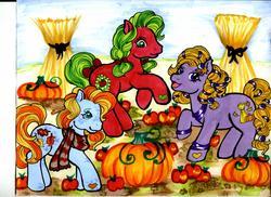 Size: 2336x1700   Tagged: safe, artist:skypinpony, applejack (g3), autumn crisp, autumn skye, g3, apple, autumn, clothes, food, pumpkin, scarf, traditional art