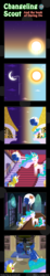 Size: 600x3263 | Tagged: safe, artist:vavacung, princess celestia, princess luna, changeling, comic:changeling-scout, book, comic, cookie, dreamworks, food, milk, pointy ponies, reading, royal guard, sleeping, zzz