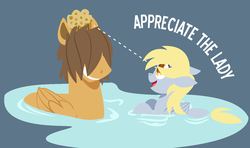 Size: 1430x848 | Tagged: safe, artist:dbkit, derpy hooves, hoops, duck pony, pegasus, pony, crack shipping, ditzyhoops, eyes on the prize, female, male, mare, muffin, shipping, straight, water, wet