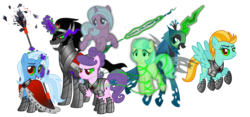 Size: 9000x4200 | Tagged: safe, artist:ggalleonalliance, artist:osipush, idw, coco pommel, king sombra, lightning dust, queen chrysalis, radiant hope, suri polomare, trixie, changeling, changeling queen, earth pony, ghost, pegasus, pony, unicorn, absurd resolution, alternate universe, armor, bad end, chains, cursed union, dark magic, female, glowing eyes, glowing horn, harem, heroes of might and magic, king sombra gets all the mares, lucky bastard, magic, male, mare, ponies of flight and magic, simple background, sombra eyes, spear, staff, stallion, telekinesis, transparent background, weapon