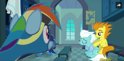 Size: 675x334 | Tagged: safe, screencap, blaze, fleetfoot, rainbow dash, soarin', pony, newbie dash, backrub, clipper, clothes, eyes on the prize, massage, misleading thumbnail, not what it looks like, out of context, towel, wet, wonderbolts, wonderbolts uniform