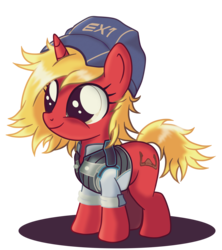 Size: 1366x1536 | Tagged: safe, artist:ruhisu, oc, oc only, oc:invictus, big eyes, clothes, commission, cute, female, filly, foal, hat, mass effect, pilot, smiling, solo