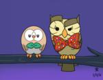 Size: 1100x850 | Tagged: safe, artist:jazzytyfighter, owlowiscious, rowlet, bowtie, crossover, pokémon, pokémon sun and moon, raised eyebrow