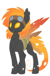 Size: 640x960 | Tagged: 2018 community collab, artist:divergentassailant, artist:ponyponyena, changeling, derpibooru community collaboration, fangs, goggles, oc, oc:fallenleaf, oc only, orange changeling, safe, scar, simple background, solo, transparent background