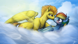 Size: 3840x2160 | Tagged: safe, artist:lupiarts, rainbow dash, spitfire, pegasus, pony, blushing, cloud, duo, female, hooves, kissing, lesbian, lying on a cloud, mare, nuzzling, on a cloud, on back, shipping, spitdash, spread wings, wings