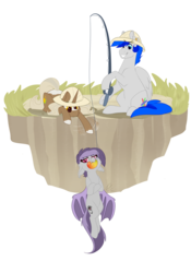 Size: 1500x2142 | Tagged: artist:lolepopenon, bat pony, behaving like a fish, cute, dead source, dirt cube, eye of horus, fishing, fishing rod, food, mango, oc, oc:daybreak, oc only, oc:sunny sheila, oc:turquoise, palomino, pony, safari hat, safe, simple background, that batpony sure does love mangoes, transparent background, turbreak