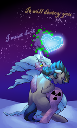 Size: 600x1000 | Tagged: safe, artist:twitchygears, idw, king sombra, radiant hope, unicorn, alternate cutie mark, alternate universe, crying, crystal heart, dark magic, female, glowing eyes, glowing horns, good king sombra, hopebra, horn, magic, male, mare, miss despair, neck band, neck ring, quote, radiant despair, shipping, snow, sombra eyes, stars, straight, wavy hair, wavy mane, wavy tail