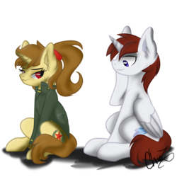 Size: 894x894 | Tagged: safe, artist:dr-whiskey, oc, oc only, oc:katya ironstead, oc:miles, alicorn, pony, alicorn oc, blue eyes, clothes, cute, duo, embarrassed, eyes on the prize, jacket, plot, ponytail, red eyes