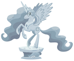 Size: 8500x7000 | Tagged: safe, artist:tardifice, princess celestia, pony, a friend in deed, absurd resolution, female, mare, rearing, simple background, solo, spread wings, statue, transparent background, vector