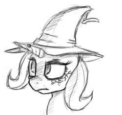 Size: 840x788 | Tagged: alternate universe, artist:post-it, female, hat, mare, monochrome, pony, safe, sketch, solo, sword rara, trixie, unicorn, wart, wicxie, witch, witch hat