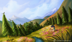 Size: 2000x1176 | Tagged: safe, artist:spacechickennerd, oc, oc only, oc:rosae, butterfly, hill, mountain, scenery, tree