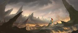 Size: 2360x1012 | Tagged: dead source, safe, artist:shamanguli, oc, oc only, pony, unicorn, fire, helmet, magic, royal guard, scenery, solo, spear, weapon