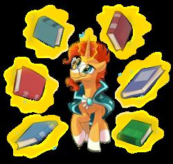 Size: 1110x1053 | Tagged: safe, artist:seanica, sunburst, pony, unicorn, the crystalling, book, magic, magic aura, male, solo, stallion, telekinesis
