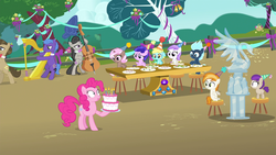 Size: 1920x1080 | Tagged: safe, screencap, brown sugar, burnout (character), concerto, lightning flare, octavia melody, parish nandermane, pinkie pie, plum star, plumberry, titania, earth pony, pegasus, pony, unicorn, inspiration manifestation, 5-year-old, background pony, birthday cake, cake, cello, colt, female, filly, foal, food, harp, ice sculpture, lyre, male, mare, musical instrument, party, stallion, surprised, unnamed pony
