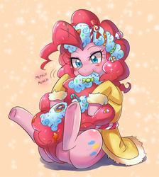 Size: 600x670 | Tagged: safe, artist:tzc, pinkie pie, spirit of hearth's warming presents, earth pony, pony, candy, cute, diapinkes, female, food, mare, munching, nom, onomatopoeia, solo, sound effects, sweets, tail bite, underhoof