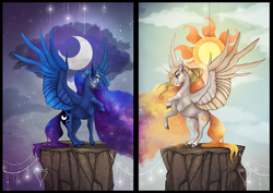 Size: 1024x727 | Tagged: safe, artist:casynuf, princess celestia, princess luna, alicorn, alternate hair color, cloud, colored hooves, ethereal mane, galaxy mane, moon, profile, raised hoof, realistic horse legs, rearing, spread wings, starry mane, stars, sun, two toned wings