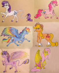 Size: 1800x2205 | Tagged: safe, artist:ambergerr, applejack, fluttershy, pinkie pie, rainbow dash, rarity, twilight sparkle, alicorn, classical unicorn, earth pony, pegasus, pony, unicorn, cheek fluff, chest fluff, cloven hooves, colored wings, colored wingtips, ear fluff, eyes closed, female, fluffy, grin, hoof fluff, jumping, leg fluff, leonine tail, lidded eyes, looking at you, looking back, looking up, mane six, mare, multicolored wings, rainbow wings, raised hoof, raised leg, running, shoulder fluff, sitting, smiling, spread wings, tail fluff, traditional art, twilight sparkle (alicorn), unshorn fetlocks, wing fluff, wings