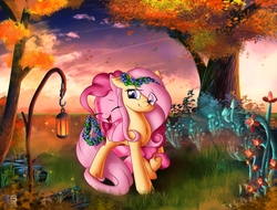 Size: 2048x1556   Tagged: safe, artist:atlas-66, artist:freeedon, fluttershy, pinkie pie, collaboration, eye clipping through hair, eyes closed, female, flower, flutterpie, lamp, lesbian, open mouth, scenery, shipping, sunset