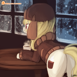 Size: 750x750 | Tagged: safe, artist:lumineko, march gustysnows, pony, coffee, cup, female, mare, patreon, patreon logo, plot, smiling, snow, solo, table, tree, window