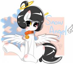 Size: 1024x891 | Tagged: safe, artist:snow angel, oc, oc only, oc:snow angel, pegasus, pony, bell, bell collar, blushing, chest fluff, collar, digital art, female, fluffy, heterochromia, red eyes, sitting, solo, yellow eyes