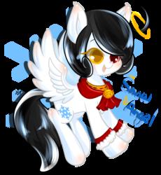 Size: 1024x1114 | Tagged: safe, artist:snow angel, oc, oc only, oc:snow angel, pegasus, pony, bell, bell collar, blushing, chest fluff, collar, digital art, female, heterochromia, red eyes, yellow eyes