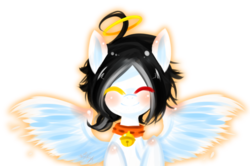 Size: 1024x681 | Tagged: safe, artist:snow angel, oc, oc only, oc:snow angel, pegasus, pony, bell, bell collar, blushing, collar, digital art, eyes closed, female, glow, heterochromia, red eyes, smiling, spread wings, wings, yellow eyes
