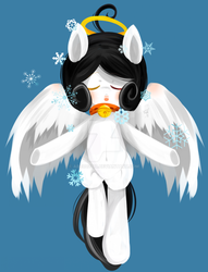 Size: 1024x1339 | Tagged: safe, artist:snow angel, oc, oc only, oc:snow angel, pegasus, pony, bell, bell collar, blushing, collar, digital art, eyes closed, female, flying, heterochromia, red eyes, snow, snowflake, solo, spread wings, watermark, yellow eyes
