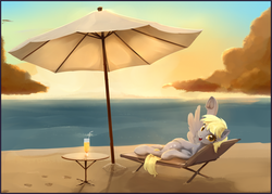 Size: 1680x1200 | Tagged: safe, artist:scootiebloom, derpy hooves, pegasus, pony, beach, digital painting, drink, female, looking at you, mare, solo, sunset, umbrella, underhoof