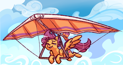 Size: 967x515   Tagged: safe, artist:fastserve, scootaloo, crying, cutie mark, eyes closed, female, hang glider, hang gliding, scootaloo can't fly, solo, the cmc's cutie marks