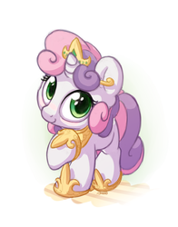 Size: 1100x1400   Tagged: safe, artist:bobdude0, sweetie belle, pony, unicorn, blushing, cute, diasweetes, female, filly, jewelry, looking at you, regalia, simple background, smiling, solo