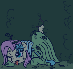 Size: 640x600 | Tagged: safe, artist:ficficponyfic, color edit, edit, edited edit, fluttershy, oc, oc:emerald jewel, colt quest, alternate color palette, bruised, bush, clothes, color, colored, colt, crossdressing, dress, escape, femboy, flower, flower in hair, foal, hedge, hedge maze, male, night, recolor, solo, tired, tongue out, trap, twig