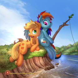 Size: 1920x1920 | Tagged: safe, artist:dfectivedvice, artist:vest, applejack, rainbow dash, earth pony, pegasus, pony, appledash, backwards cutie mark, chest fluff, collaboration, cute, dashabetes, female, fishing, jackabetes, lesbian, mare, open mouth, patreon, patreon logo, shipping