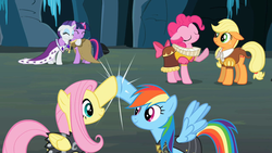 Size: 1280x720   Tagged: safe, screencap, applejack, chancellor puddinghead, clover the clever, commander hurricane, fluttershy, pinkie pie, princess platinum, private pansy, rainbow dash, rarity, smart cookie, twilight sparkle, pony, hearth's warming eve (episode), cute, eyes closed, floppy ears, hoofbump, hug, mane six, raised hoof