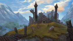Size: 1280x720 | Tagged: dead source, safe, artist:maggwai, castle of the royal pony sisters, cloud, cloudy, mountain, mountain range, no pony, ruins, scenery