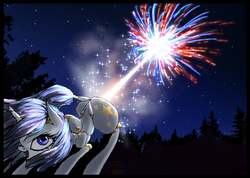 Size: 3044x2167 | Tagged: safe, artist:great-5, oc, oc only, oc:stargazer, pony, unicorn, 4th of july, american independence day, explosion, explosive fart, face down ass up, fart, female, fireworks, lightmare, mare, murica, night, open mouth, patriotic, raised tail, smiling, solo, tail, united states