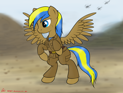Size: 3961x3000 | Tagged: afghanistan, airborne, artist:orang111, bipedal, clothes, desert, helicopter, military, military uniform, mountain, oc, oc only, oc:rack redstar, pegasus, pony, requested art, safe, solo, soviet, soviet pony, soviet russia, soviet union, uniform