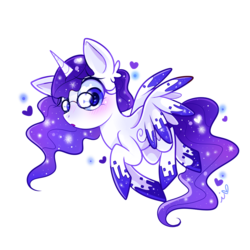 Size: 1200x1200 | Tagged: safe, artist:ipun, oc, oc only, alicorn, pony, alicorn oc, blushing, female, glasses, heart, heart eyes, looking at you, mare, open mouth, simple background, solo, transparent background, wingding eyes