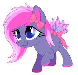 Size: 492x475 | Tagged: safe, artist:pepooni, oc, oc only, oc:amethyst dream, solo, tail bow
