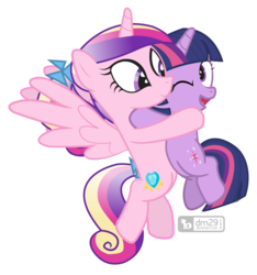Size: 880x940 | Tagged: safe, artist:dm29, princess cadance, twilight sparkle, alicorn, pony, unicorn, duo, female, filly, filly cadance, filly twilight sparkle, flying, hug, julian yeo is trying to murder us, one eye closed, simple background, teen princess cadance, transparent background, unicorn twilight, young, younger