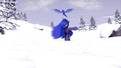 Size: 2560x1440 | Tagged: safe, artist:thelunagames, princess luna, dragon, 3d, rock, snow, solo, source filmmaker, tree