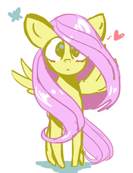 Size: 2550x3300 | Tagged: artist:gabialicornprincess, blushing, fluttershy, heart, looking at you, safe, simple background, solo, spread wings, standing