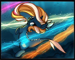 Size: 1441x1153 | Tagged: safe, artist:starshinebeast, oc, oc only, oc:tidal charm, aquapony, original species, danger, dodge, female, filly, foal, magic, seaunicorn, solo, swimming