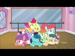 Size: 2048x1536 | Tagged: apple bloom, ballet jubilee, berry star, cute, derp, discovery family logo, leotard, on your marks, pile, pony, pony pile, safe, screencap, shining passion, shuffle step, strawberry swing, waltzer