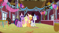 Size: 1280x720 | Tagged: safe, screencap, applejack, fluttershy, rarity, twilight sparkle, pony, party of one, balloon, barn, bell, cake, cute, eyes closed, food, hat, hay, party, party hat, party horn, pitchfork, smiling, streamers, wheel