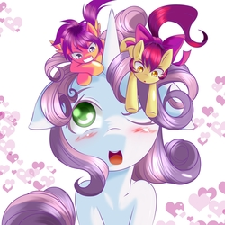 Size: 1504x1504 | Tagged: safe, artist:0ryomamikado0, apple bloom, scootaloo, sweetie belle, adorabloom, blushing, cute, cutealoo, cutie mark crusaders, diasweetes, heart, macro, one eye closed, open mouth, size difference, tongue out, underhoof, wink